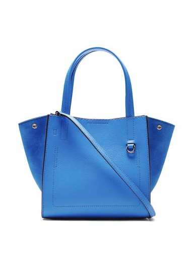 Banana Republic bright blue leather tote bag