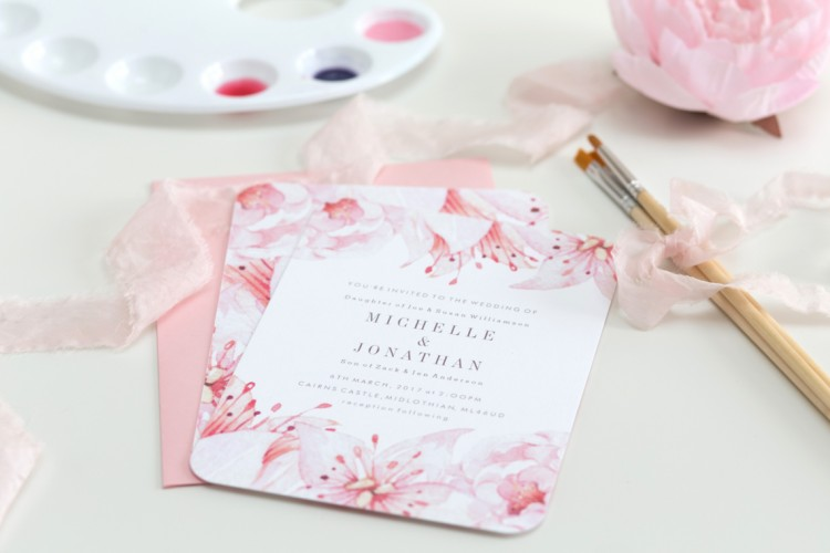 soft pink floral watercolour wedding stationery