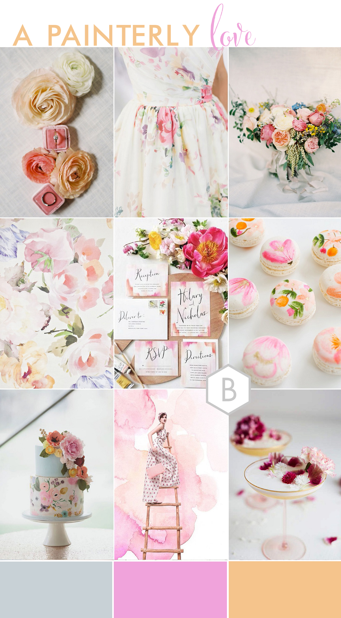 handpainted floral wedding inspiration