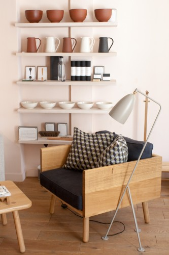Another Country showroom and armchair