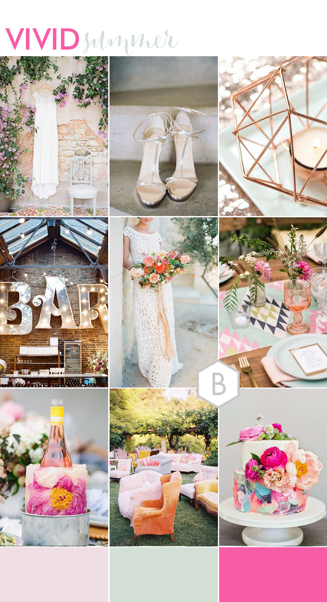 hot pink bright fun summer wedding decor ideas