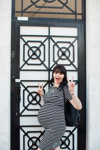 modern black and white stripe maternity session outfit