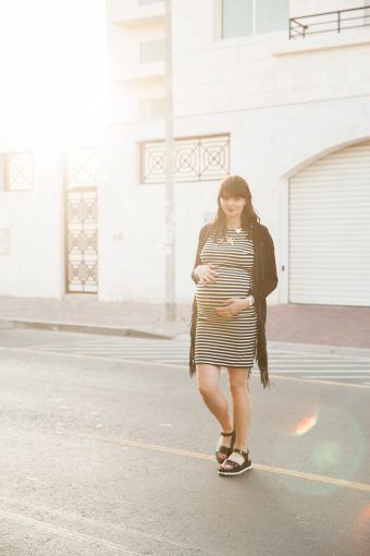 modern chic maternity session outfit