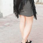 modern stripe maternity outfit dress with fringe jacket