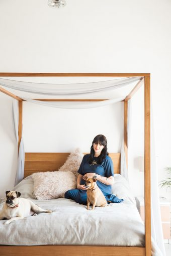 chic modern maternity session with pet dogs