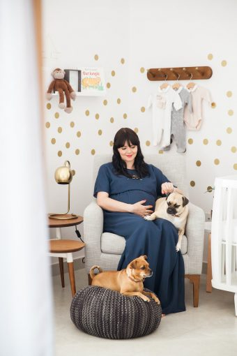 maternity nursery session with pet dogs