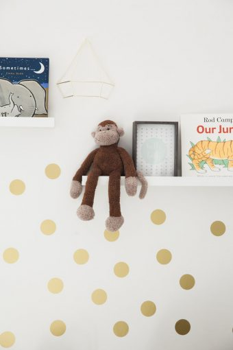 nursery gold dots wall and shelf