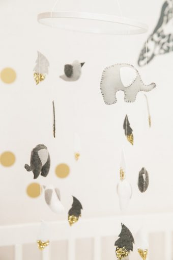 grey and gold elephant nursery hanging mobile