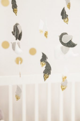 grey white and gold nursery hanging mobile