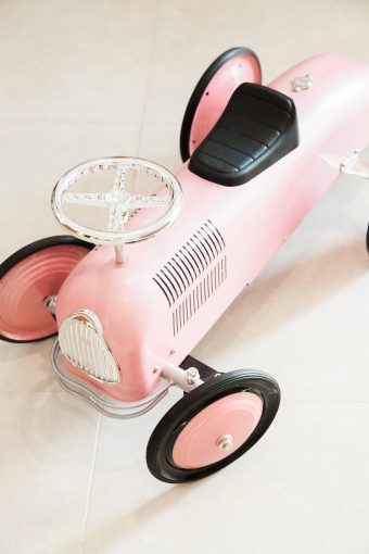 blush pink retro car baby walker