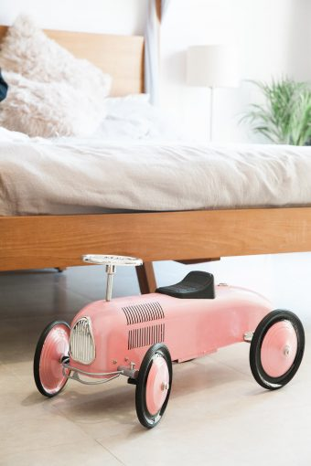 blush pink retro baby car walker