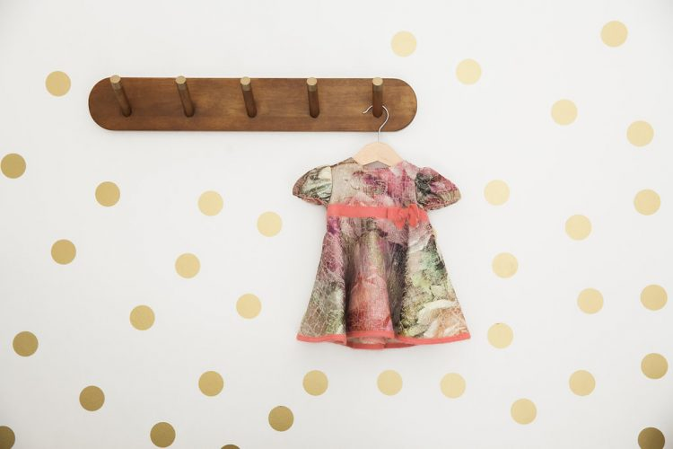baby girls dress and gold dots wall sticker