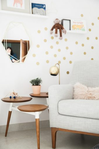 modern nursery decor chair gold dots