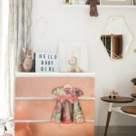 copper ikea hack drawers for nursery decor tour with baby dress and retro table