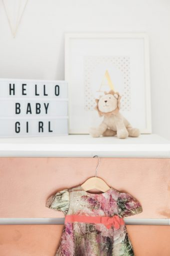 hello baby girl light box sign and nursery styling decor