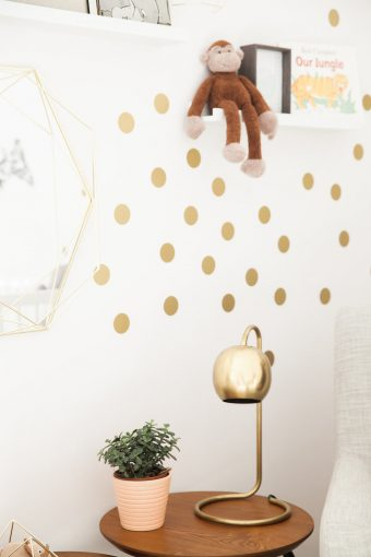 large gold dot wall stickers nursery decor with gold lamp