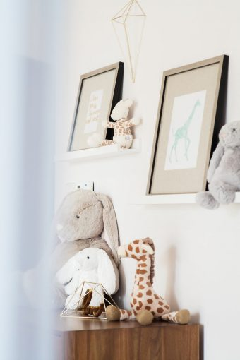 soft toy collection and framed prints
