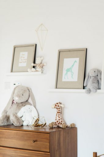 Nursery decor soft toy collection and framed prints