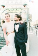 stylish bride and groom on the streets of Paris