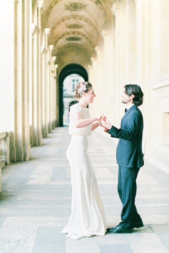 Bride and Groom dancing together in Paris