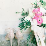 embellished bridal shoes and beautiful bouquet