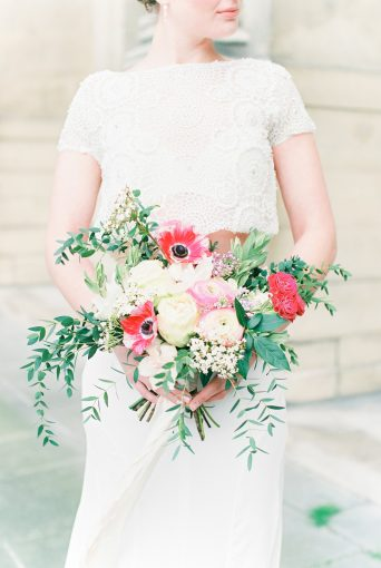 bright bridal bouquet with pink and red