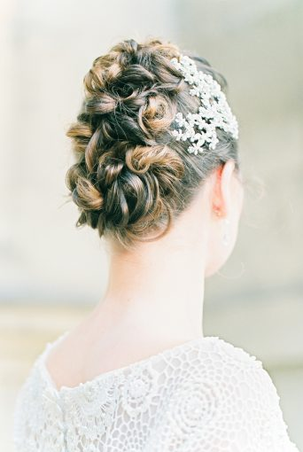 bridal updo hair style with headpiece by SIBO designs