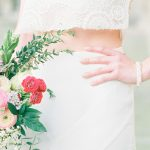 beautiful bright bouquet and the brides delicate bracelet