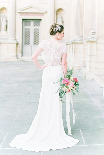beautiful bridal two piece fashion style and bouquet