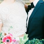 bride and groom with beautiful bouquet