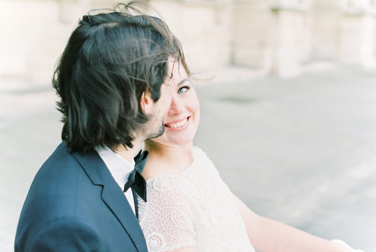 Parisian elopement bride and groom