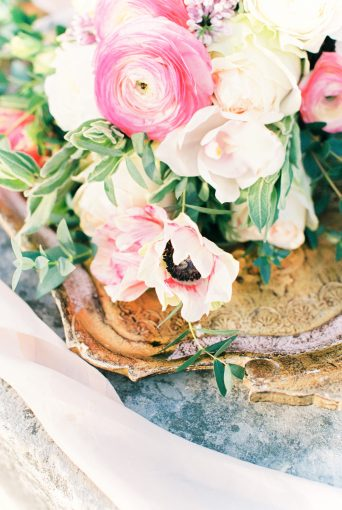 delicate florals sat upon a gold tray