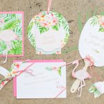 A beautiful bright tropical themed day after brunch styled by B.Loved with Cricut. See how you can style a fun table setting, bar cart and more with these DIY pieces!
