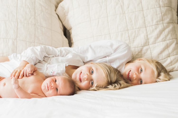 baby halle and her big sisters portrait together