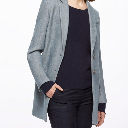 chic smart grey wool blazer style jacket by Jigsaw worn with simple black jumper