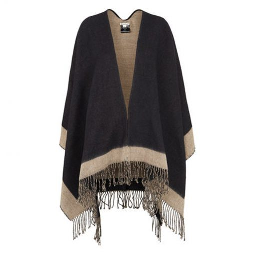 colourblock cape by Whistles in black and beige with fringe detailing to the edges