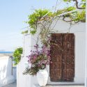 Aegean island doorway of whitewashed tranquil building