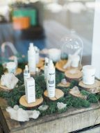 a window display of skincare products at blush and blow salon london