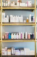 many ranges of products available inside the blush and blow salon london