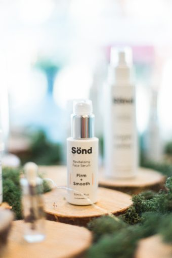 sond skincare products on display at blush and blow salon