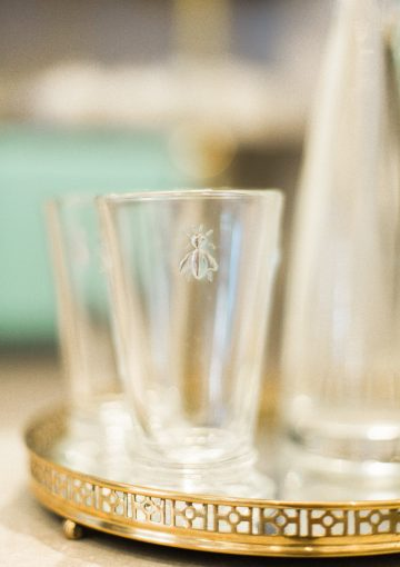 bumble bee embossed glassware at blush and blow london