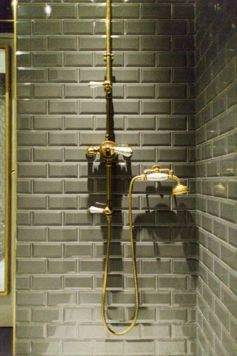 grey and gold vintage industrial style interiors of blush and blow salon