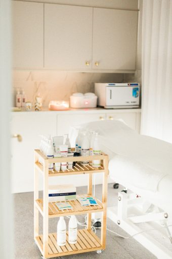 the bright treatment room at blush and blow salon