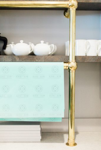 the cute tea and coffee station at the blush and blow salon
