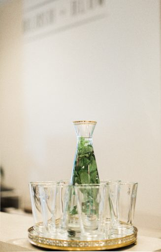 fresh water with fresh mint leaves for guests to drink