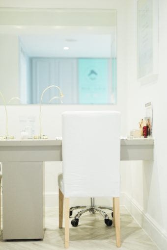 the nail bar area of blush and blow salon london