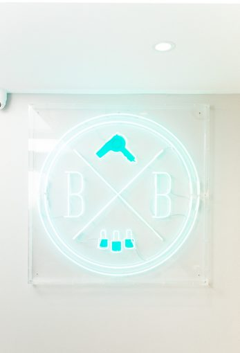 the neon blush and blow salon sign