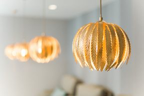 glamorous golden pendant light shades at the blush and blow salon
