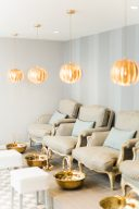 the exquisite pedicure area at the blush and blow salon london