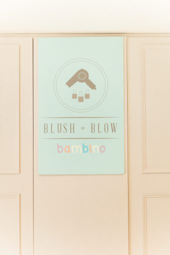 bambino baby area sign at the blush and blow salon in london